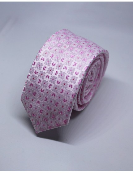 Cravate slim rose à motifs