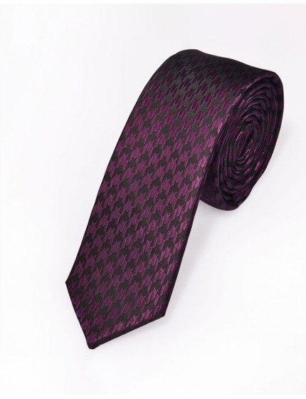 Cravate slim violette à motifs